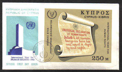 Cyprus Stamps SG 318 MS 1968 Human Rights - Official First Day Cover