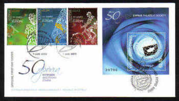 Cyprus Stamps SG 1190-92 and MS 1193 2009 Cyprus Philatelic Society and  XIII Games - Unofficial FDC (a912)