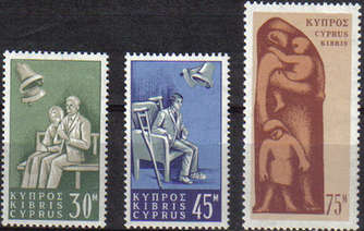 Cyprus Stamps SG 259-61 1965 Social Insurance Law - MLH