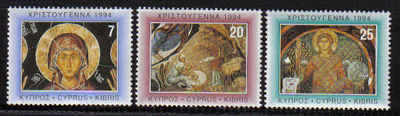 Cyprus Stamps SG 860-62 1994 Christmas Church Paintings - MINT