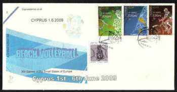 Cyprus Stamps SG 1190-92 2009 XIII Games of the Small States of Europe Beach Volleyball - Cachet Unofficial FDC (a970)