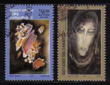 North Cyprus Stamps SG 0567-68 2003 Art 14th Series - Used (b099)