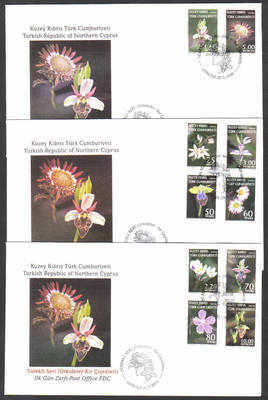 North Cyprus Stamps SG 664-73 2008 Definitives Orchids and Wild Flowers - O