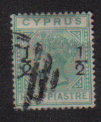 CYPRUS STAMPS SG 025 1882 1/2 on 1/2 - USED (a993)