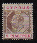 Cyprus Stamps SG 068 1904 Nine Piastres King Edward VII - MH (b58)
