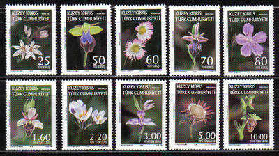 North Cyprus Stamps SG 664-73 2008 Definitives Orchids and Wild Flowers - M