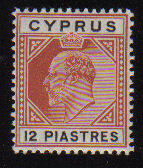 Cyprus Stamps SG 069 1906 12 Piastres King Edward VII - MLH