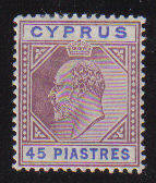 Cyprus Stamps SG 71 1904 45 Piastres - MLH (b55)
