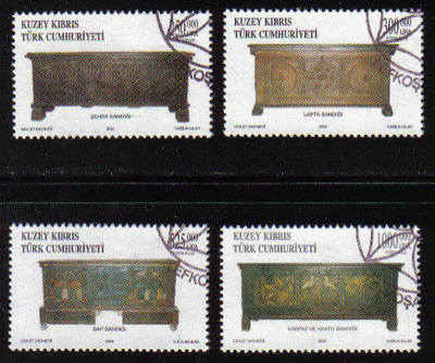 North Cyprus Stamps SG 0574-77 2003 Wooden Chests - Used (b098)