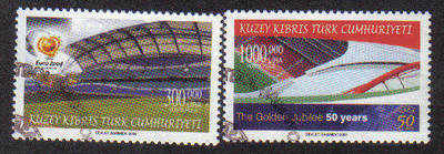 North Cyprus Stamps SG 0594-95 2004 50th Anniversary of UEFA Football - Use