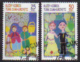 North Cyprus Stamps SG 0605-06 2005 Childrens Paintings - Used (b101)