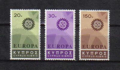 Cyprus Stamps SG 302-04 1967 Europa Cogwheel - MLH