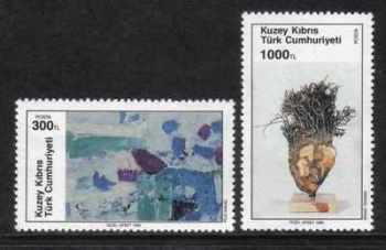 North Cyprus Stamps SG 284-85 1990 Art 9th series - MINT