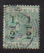 Cyprus Stamps SG 027 1886 1/2 on 1/2 - Used (b112)