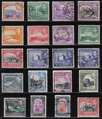 Cyprus Stamps SG 151-63 1938 KG VI  Including155c - USED
