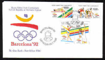 North Cyprus Stamps SG 336-39 1992 Barcelona Olympic Games - Official FDC (b143)