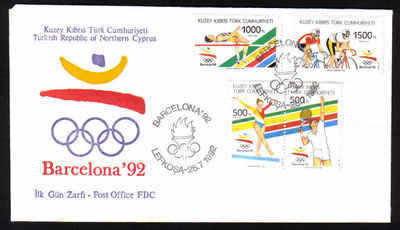 North Cyprus Stamps SG 336-39 1992 Barcelona Olympic Games - Official FDC (