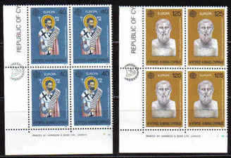 Cyprus Stamps SG 540-41 1980 Europa personlities Barnabas & Zenon - Block of 4 MINT (b573)