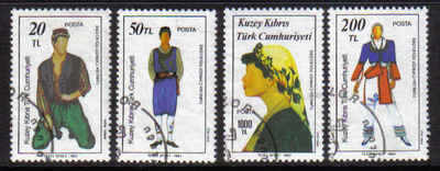 North Cyprus Stamps SG 212-15 1987 Folk Dancers - USED (b633)