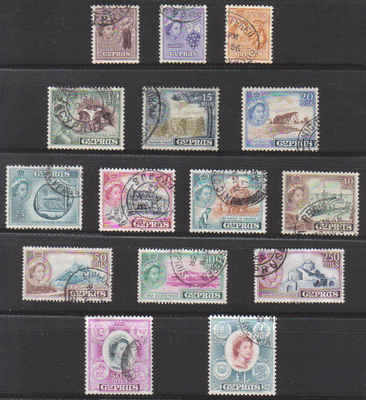 Cyprus Stamps SG 173-87 1955 Queen Elizabeth II Definitives - USED (b160)