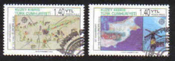 North Cyprus Stamps SG 0620-21 2006 50th Anniversary of the first Europa stamp - CTO USED(b163)