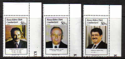 North Cyprus Stamps SG 233-35 1988 Turkish Prme ministers - MINT (b218)