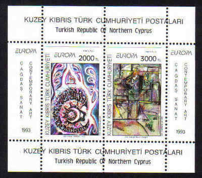 North Cyprus Stamps SG 353 MS 1993 Europa Art Contemporary - Mint