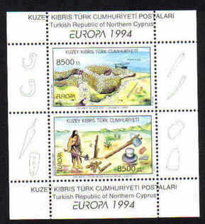 North Cyprus Stamps SG 372 MS 1994 Europa Archaelogical Discoveries - MINT
