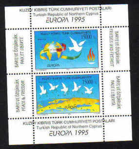 North Cyprus Stamps SG 395 MS 1995 Europa peace and freedom - MINT