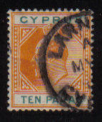 Cyprus Stamps SG 061 1906 Ten Paras - Used (b254)
