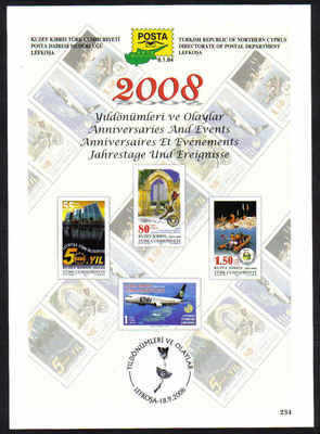 North Cyprus Stamps Leaflet 234 - 2008 Anniversaries and Events