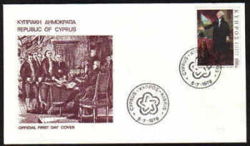 Cyprus Stamps SG 474 1976 U S Bicentennial - Official First day cover(b344)