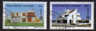 North Cyprus Stamps SG 210-11 1987 Europa Modern architecture - USED (b638)