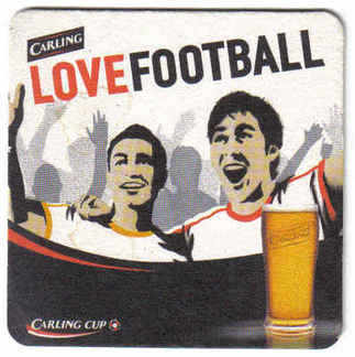 British Beermats Carling Love Football - Used (b469)