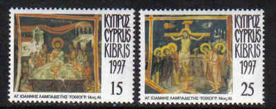 Cyprus Stamps SG 922-23 1997 Easter Passion of Christ - MLH