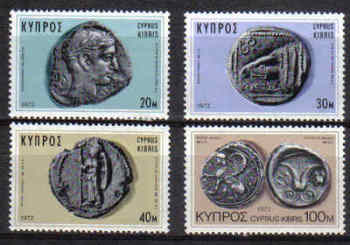 Cyprus Stamps SG 393-96 1972 Ancient Coins 1972 - MINT