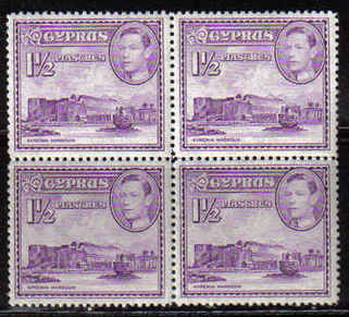 Cyprus Stamps SG 155a 1943 1 1/2 Piastres Block of 4 - MINT