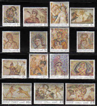 Cyprus Stamps SG 756-70 1989 7th Definitives Mosaics - MINT
