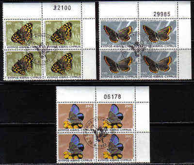 Cyprus Stamps SG 604-06 1983 Butterflies - Used Block (b510)