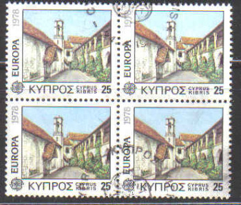 Cyprus Stamps SG 502 1978 15 Mils - Used Block of 4 (b583)