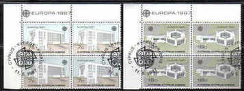 CYPRUS STAMPS SG 704-05 1987 EUROPA MODERN ARCHITECTURE - USED BLOCK OF 4 (