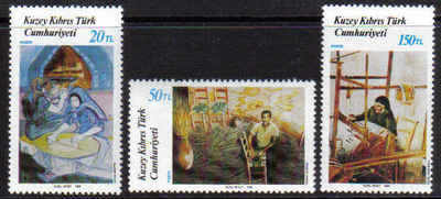 North Cyprus Stamps SG 225-27 1988 Art 7th Series - MINT