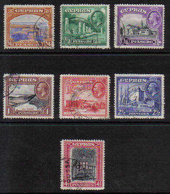 Cyprus Stamps SG 133-39 1934 KGV Definitives Part set - USED (b686)