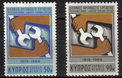 Cyprus Stamps SG 327-28 1969 International Labour Organisation - MINT