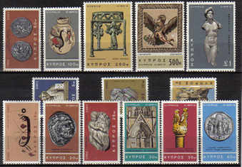 Cyprus Stamps SG 283-96 1966 2nd Definitives Antiquites - MLH
