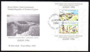 North Cyprus Stamps SG 372 MS 1994 Europa Archaeological discoveries - Official FDC (g028)