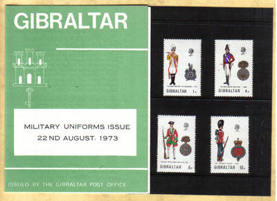 Gibraltar Stamps SG 0313-16 1973 Uniforms 5th Series Presentation pack - MI