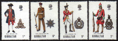 Gibraltar Stamps SG 0240-43 1969 Military uniforms 1st Series - MINT