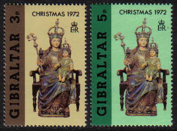 Gibraltar Stamps SG 0304-05 1972 Christmas - MINT