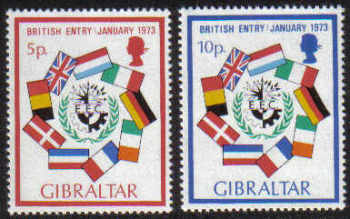 Gibraltar Stamps SG 0308-09 1973 Britains entry into the EEC - MINT